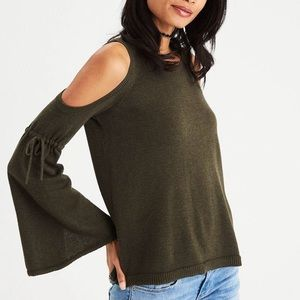 AEO Bell sleeve cold shoulder sweater in OLIVE